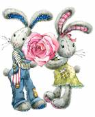 Valentine  Day. rabbit sweet heart. illustration, watercolor, — Stockfoto
