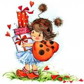 Children Valentine's Day. Fairy background. watercolor drawing — Stock Photo
