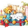 Teddy bear. Toy for celebration greetings festival. watercolor — Stock Photo #61176539