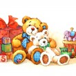Teddy bear. Toy for celebration greetings festival. watercolor — Stock Photo #61176537