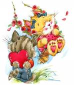 Valentine day. fanny animals — Stock Photo