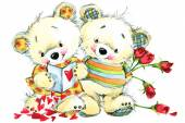 Valentine day. Teddy bear.background for congratulation festive — Photo
