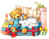 Teddy bear. Toy for celebration greetings festival. watercolor — Stock Photo