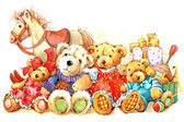 Teddy bear..Toy for celebration greetings festival. watercolor — Stock Photo