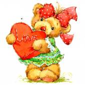 Valentine day. Teddy bear.background for congratulation festive — Stok fotoğraf
