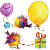 Kid celebration.  funny bird and decoration background for congr — Stock Photo