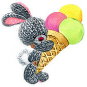 Funny hare and iice cream. background for kid congratulation car — Stock Photo