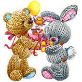 Kid celebration.teddy bear and funny bunny background for congra — Stock Photo