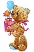 Kid celebration and funny teddy bear background for congratulati — Stock Photo