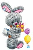 Kid celebration and funny hare background for congratulation car — Stock Photo