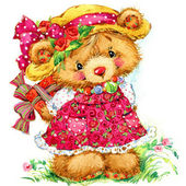 Teddy bear. background for greetings cards. watercolor illustrat — Stock Photo