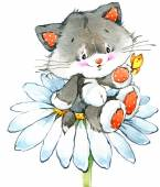 Funny kitten.  holiday greetings card. watercolor — Stock Photo