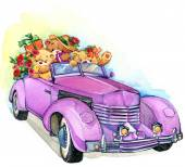 Valentine day. vintage car and Teddy bear.background for congrat — Stock Photo