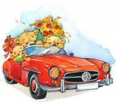 Valentine day. vintage car and Teddy bear.background for congrat — Zdjęcie stockowe