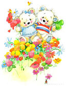 Teddy bear.Set of birthday greetings festival.watercolor — Stock Photo