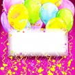 Birthday background with flying colorful balloons and confetti w — Stock Photo #61239303