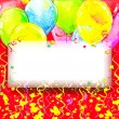 Birthday background with flying colorful balloons and confetti w — Stock Photo #61239305