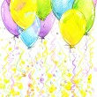 Birthday background with flying colorful balloons and confetti o — Stock Photo #61239313