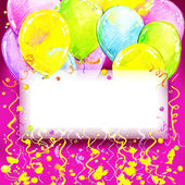 Birthday background with flying colorful balloons and confetti w — Stock Photo