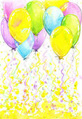 Birthday background with flying colorful balloons and confetti o — Stock Photo