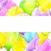 Birthday background with flying colorful balloons and confetti with place for text. watercolor — Stock Photo