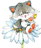 Funny kitten. element for holiday greetings card and kids background. watercolor illustration — Stock Photo