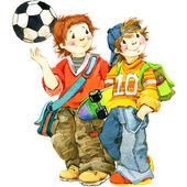 Healthy child pupil. sports and school background. watercolor dr — Stock Photo