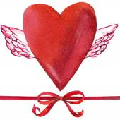 Valentines day. Red heart with Cupid angel wings and ribbons for — Stock Photo