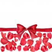 Valentine's Day set for decoration. beautiful bow, red heart and — Stockfoto