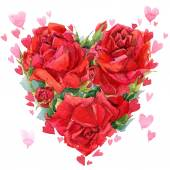 Valentines day. Red heart of roses. flowers watercolor backgroun — Stock Photo