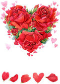 Valentines day. Red heart of roses. flowers watercolor backgroun — Foto de Stock