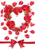 Valentines day. Red heart of roses. flower watercolor background for card and congratulations — Stock Photo