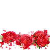 Valentines day. Red heart and background of red roses. watercolo — Stock Photo