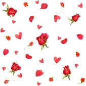 Valentines day. background of roses and red hearts. watercolor — Stock Photo