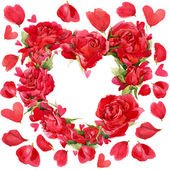 Valentines day. Red heart of roses. flowers watercolor background for card and congratulations — Stock Photo