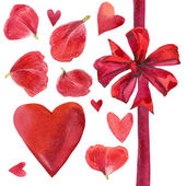 Valentine's Day set for decoration. beautiful bow, red heart and rose petals. watercolor — Stock Photo