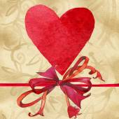 Valentines day. Love heart on vintage paper. watercolor — Stock Photo