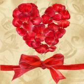 Giorno di San Valentino. Cuore sul documento dell'annata di amore. acquerello — Foto Stock
