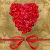 Valentijnsdag. Rood hart op vintage papier. Aquarel — Stockfoto