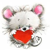 Valentines day. cute animals and love's heart. watercolor — Stock Photo