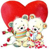 Dia dos namorados. Ursinho e coração vermelho. antecedentes de congra — Fotografia Stock