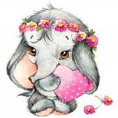 Valentines day. cute baby elephant and love's heart. watercolor — Stock Photo