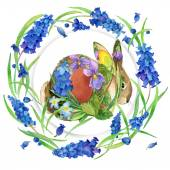 Easter bunny and Easter egg with the first spring flowers . Background for congratulations card. watercolor — Stock Photo