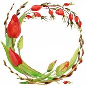 Flower wreath of Royal Tulip, hips and willow branches with green grass. watercolor art — Стоковое фото