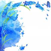 Watercolor flowers and butterfly on blurry background — Stock Photo
