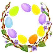 Easter egg and spring flower — Stock Photo