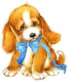 Cute puppy dog. watercolor — Stock Photo