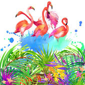 Tropical flowers, leaves and flamingo bird. — Stock Photo