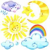 Watercolor sun, clouds, moon, stars, rainbow. — Foto Stock