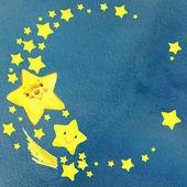 Suluboya Paz, bulutlar, ay, yıldız, gökkuşağı. — Stok fotoğraf